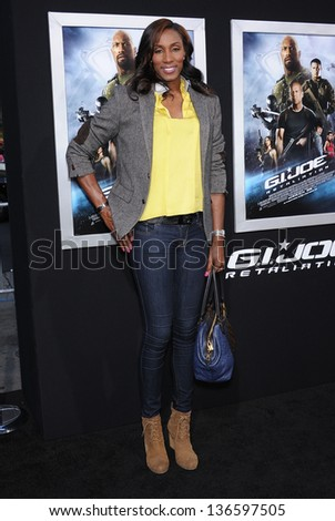 """LOS ANGELES - MAR 28:  Lisa Leslie arrives to the """"G.I. Joe: Retaliation"""" Los Angeles Premiere  on March 28, 2013 in Hollywood, CA. - stock photo"""