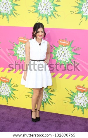 LOS ANGELES - MAR 23:  Lucy Hale arrives at Nickelodeon's 26th Annual Kids' Choice Awards at the USC Galen Center on March 23, 2013 in Los Angeles, CA - stock photo