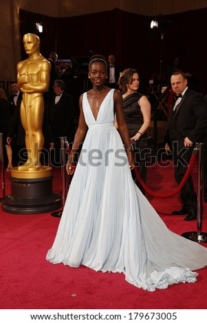 LOS ANGELES - MAR 2:  Lupita Nyong'o at the 86th Academy Awards at Dolby Theater, Hollywood & Highland on March 2, 2014 in Los Angeles, CA - stock photo