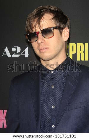 "LOS ANGELES - MAR 14:  Mark Foster arrives at the 'Spring Breakers"" Premiere at the Arclight, Hollywood on March 14, 2013 in Los Angeles, CA - stock photo"