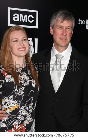 """LOS ANGELES - MAR 26:  Mireille Enos; Alan Ruck arrives at  the AMC's """"The Killing"""" Season 2 Premiere at the ArcLight Theaters on March 26, 2012 in Los Angeles, CA - stock photo"""