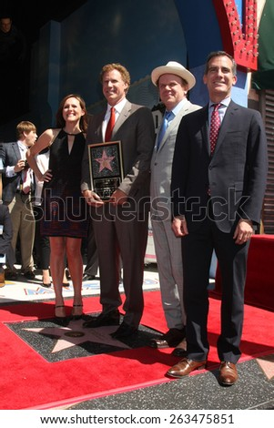 LOS ANGELES - MAR 24:  Molly Shannon, Will Ferrell, John C. Reilly, Eric Garcetti at the Will Ferrell Hollywood WOF Star Ceremony at the Hollywood Boulevard on March 24, 2015 in Los Angeles, CA - stock photo