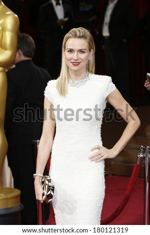LOS ANGELES - MAR 2: Naomi Watts  at the 86th Annual Academy Awards at Hollywood & Highland Center on March 2, 2014 in Los Angeles, California - stock photo