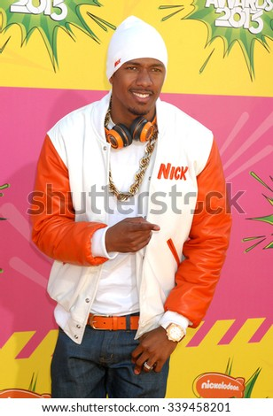 LOS ANGELES - MAR 23 - Nick Cannon arrives at the Nickelodeons 2013 Kids Choice Awards on March 23,  2013 in Los Angeles, CA              - stock photo