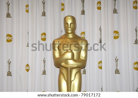 LOS ANGELES - MAR 7: Oscar statue in the press room at the Oscars held at the Kodak Theater in Los Angeles, California on March 7, 2010. - stock photo