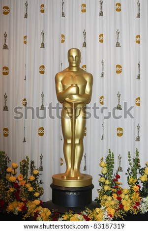 LOS ANGELES - MAR 7: Oscar statue in the press room at the Oscars held at the Kodak Theater in Los Angeles, California on March 7, 2010 - stock photo