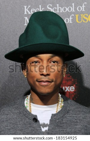 LOS ANGELES - MAR 20:  Pharrell Williams at the 2nd Annual Rebels With A Cause Gala at Paramount Studios on March 20, 2014 in Los Angeles, CA - stock photo