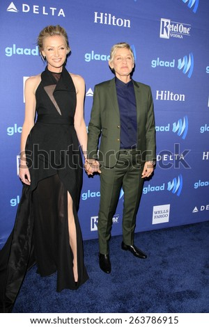LOS ANGELES - MAR 21:  Portia deRossi, Ellen DeGeneres at the 26th Annual GLAAD Media Awards at the Beverly Hilton Hotel on March 21, 2015 in Beverly Hills, CA - stock photo