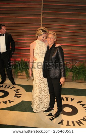 LOS ANGELES - MAR 2:  Portia DeRossi, Ellen DeGeneres at the 2014 Vanity Fair Oscar Party at the Sunset Boulevard on March 2, 2014 in West Hollywood, CA - stock photo