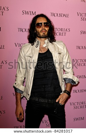 LOS ANGELES - MAR 25: Russell Brand arrives as Victoria's Secret celebrates the 15th anniversary of the Swim Catalogue at Trousdale in Los Angeles, California on March 25, 2010 - stock photo