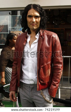 LOS ANGELES - MAR 27:  Russell Brand arrives at the World Premiere of 'HOP' held at Universal Studios Hollywood on March 27, 2011 in Los Angeles, California - stock photo