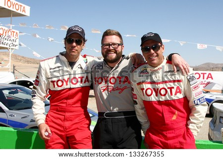 LOS ANGELES - MAR 23:  Rutledge Wood, Michael Trucco, Mark Steines at the 37th Annual Toyota Pro/Celebrity Race training at the Willow Springs International Speedway on March 23, 2013 in Rosamond, CA