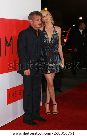 """LOS ANGELES - MAR 12:  Sean Penn, Charlize Theron at the """"The Gunman"""" Premiere at the Regal 14 Theaters on March 12, 2015 in Los Angeles, CA - stock photo"""