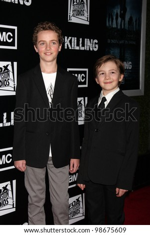 """LOS ANGELES - MAR 26:  Seth Isaac Johnson, Evan Bird  arrives at  the AMC's """"The Killing"""" Season 2 Premiere at the ArcLight Theaters on March 26, 2012 in Los Angeles, CA - stock photo"""