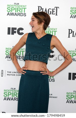 LOS ANGELES - MAR 1:  Shailene Woodley at the Film Independent Spirit Awards at Tent on the Beach on March 1, 2014 in Santa Monica, CA