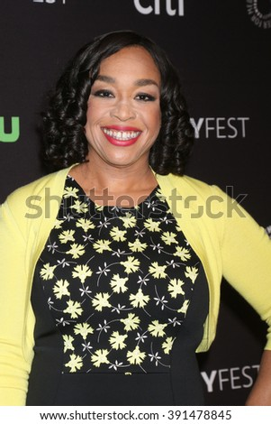 LOS ANGELES - MAR 15:  Shonda Rhimes at the PaleyFest Los Angeles - Scandal at the Dolby Theater on March 15, 2016 in Los Angeles, CA - stock photo