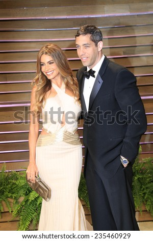 LOS ANGELES - MAR 2:  Sofia Vergara, Nick Loeb at the 2014 Vanity Fair Oscar Party at the Sunset Boulevard on March 2, 2014 in West Hollywood, CA - stock photo