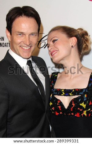 LOS ANGELES - MAR 3:  Stephen Moyer, Anna Paquin at the Elton John AIDS Foundation's Oscar Viewing Party at the West Hollywood Park on March 3, 2014 in West Hollywood, CA - stock photo