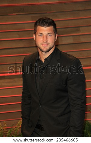 LOS ANGELES - MAR 2:  Tim Tebow at the 2014 Vanity Fair Oscar Party at the Sunset Boulevard on March 2, 2014 in West Hollywood, CA - stock photo