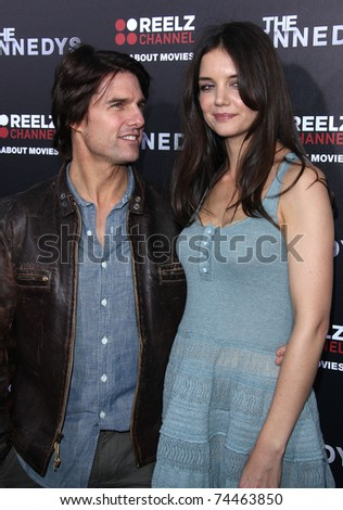 """LOS ANGELES - MAR 28:  Tom Cruise & Katie Holmes arrives to """"The Kennedys"""" Los Angeles Premiere  on March 28, 2011 in Beverly Hills, CA - stock photo"""