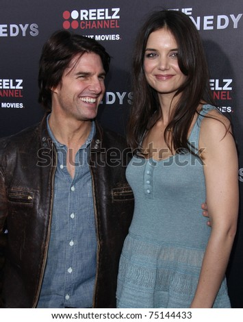 "LOS ANGELES - MAR 28:  Tom Cruise & Katie Holmes arrives to ""The Kennedys"" World Premiere  on April 11, 2011 in Hollywood, CA - stock photo"