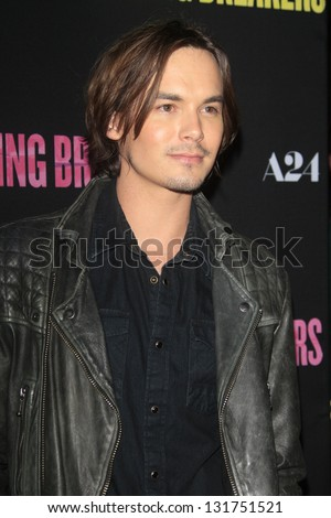 "LOS ANGELES - MAR 14:  Tyler Blackburn arrives at the 'Spring Breakers"" Premiere at the Arclight, Hollywood on March 14, 2013 in Los Angeles, CA - stock photo"