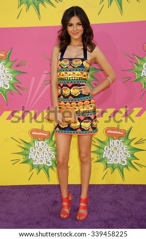 LOS ANGELES - MAR 23 - Victoria Justice arrives at the Nickelodeons 2013 Kids Choice Awards on March 23,  2013 in Los Angeles, CA              - stock photo