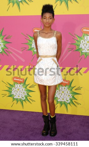 LOS ANGELES - MAR 23 - Willow Smith arrives at the Nickelodeons 2013 Kids Choice Awards on March 23,  2013 in Los Angeles, CA              - stock photo