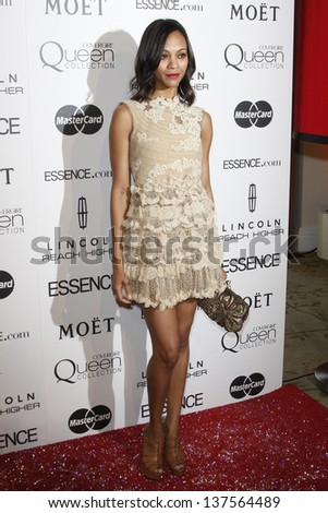LOS ANGELES - MAR 4: Zoe Saldana at the 3rd annual Essence Black Women in Hollywood Luncheon at the Beverly Hills Hotel in Beverly Hills, California on March 4, 2010 - stock photo