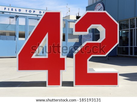 LOS ANGELES - MARCH 17: A monument to Jackie Robinson stands near an entrance to Dodger Stadium in Los Angeles on March 17, 2014. The stadium has been home to the Dodgers MLB team since 1962. - stock photo