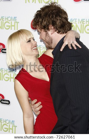 "LOS ANGELES - MARCH 2: Anna Faris, Chris Pratt arrives at the ""Take Me Home Tonight"" Premiere at Regal LA Live Theater on March 2, 2011 in Los Angeles, CA - stock photo"