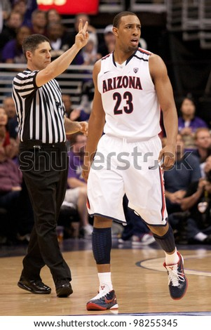LOS ANGELES - MARCH 12: Arizona Wildcats F Derrick Williams #23 during the NCAA Pac-10 Tournament basketball championship game on March 12 2011 at Staples Center in Los Angeles, CA. - stock photo