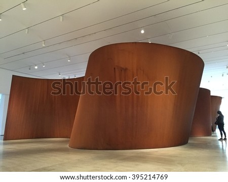 LOS ANGELES - MARCH 5: Band by Richard Serra at The Broad Contemporary Art Museum at LACMA on March 5, 2016 in Los Angeles, California, USA. - stock photo