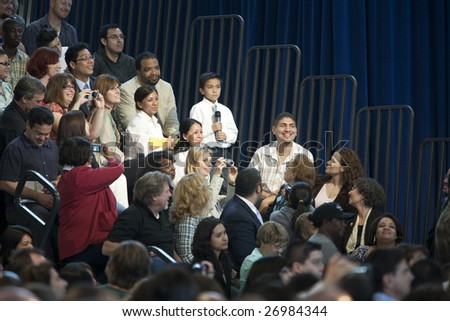 LOS ANGELES - MARCH 19: Ethan Lopez, 8, asks President Barack Obama a question about education at a town hall meeting at Contreras Learning Center on March 19th, 2009 in Los Angeles.