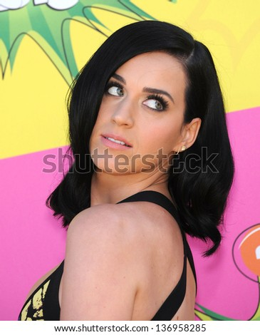 LOS ANGELES - MARCH 23:  Katy Perry arrives to the Kid's Choice Awards 2013  on March 23, 2013 in Los Angeles, CA. - stock photo