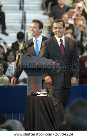 LOS ANGELES - MARCH 19: L.A. mayor Antonio Villaraigosa and California governor Arnold Schwarzenegger introduce President Barack Obama on March 19th, 2009 in Los Angeles.