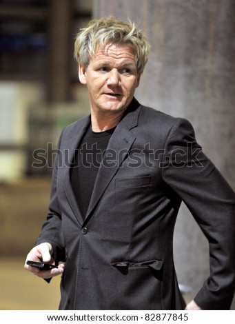 LOS ANGELES-MARCH 31: Television chef Gordon Ramsay at LAX airport. March 31, 2011 in Los Angeles, California - stock photo