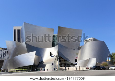 LOS ANGELES - MARCH 17: The Walt Disney Concert Hall located in Los Angeles, California on March 17, 2014. The concert hall is part of the Los Angeles Music Center and was designed by Frank Gehry. - stock photo