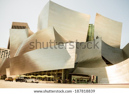 LOS ANGELES - March 30: Walt Disney Concert Hall in Los Angeles, CA on March 30, 2014. The hall was designed by Frank Gehry and is a major attraction in Los Angeles - stock photo