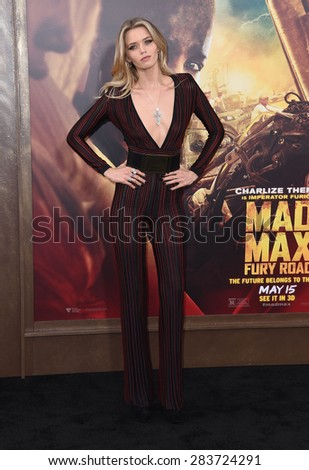 """LOS ANGELES - MAY 07:  Abbey Lee arrives to the """"Mad Max: Fury Road"""" Los Angeles Premiere  on May 7, 2015 in Hollywood, CA                 - stock photo"""
