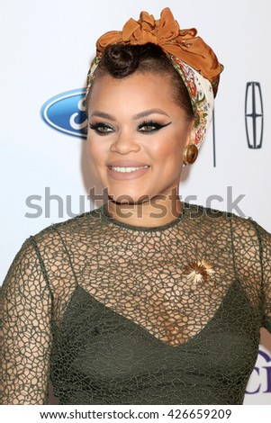 LOS ANGELES - MAY 24:  Andra Day at the 41st Annual Gracie Awards Gala at Beverly Wilshire Hotel on May 24, 2016 in Beverly Hills, CA - stock photo
