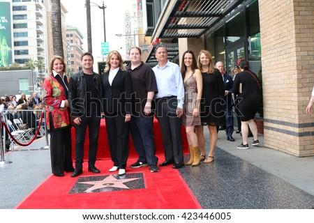 LOS ANGELES - MAY 19: Andrea Gengler, David Sohmer, Deidre Hall, Tully Sohmer, Bill Hall, family at the Deidre Hall Hollywood Walk of Fame Ceremony at Hollywood Blvd on May 19, 2016 in Los Angeles, CA - stock photo