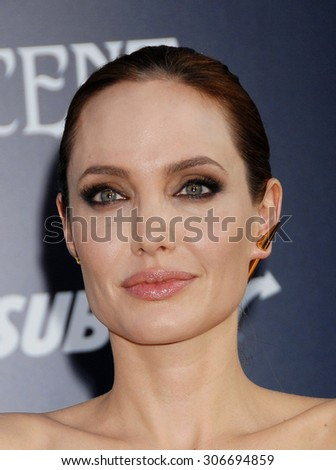 LOS ANGELES - MAY 28:  Angelina Jolie  arrives at the Maleficent WORLD Premiere  on May 28, 2014 in Hollywood, CA                 - stock photo