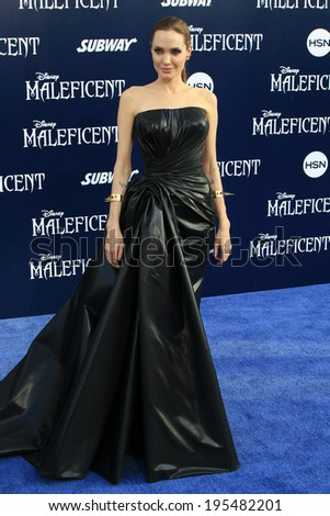 "LOS ANGELES - MAY 28:  Angelina Jolie at the ""Maleficent"" World Premiere at El Capitan Theater on May 28, 2014 in Los Angeles, CA - stock photo"