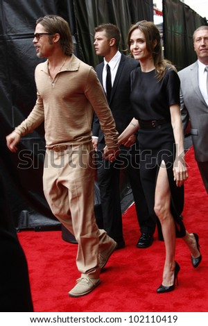 LOS ANGELES - MAY 22: Angelina Jolie, Brad Pitt at the premiere of Kung Fu Panda 2 at the Grauman's Chinese Theater in Los Angeles, California on May 22, 2011. - stock photo