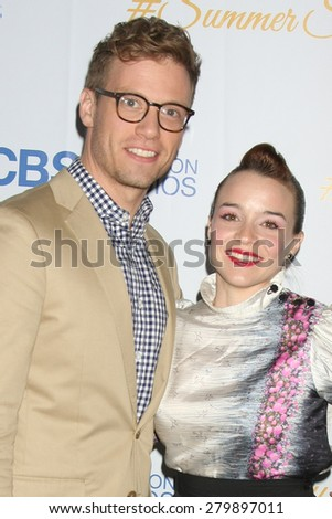 LOS ANGELES - MAY 18:  Barrett Foa, Renee Felice Smith at the CBS Summer Soiree 2015 at the London Hotel on May 18, 2015 in West Hollywood, CA - stock photo