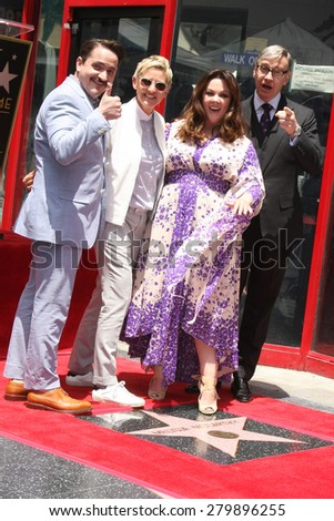 LOS ANGELES - MAY 19:  Ben Falcone, Ellen DeGeneres, Melissa McCarthy, Ben Feig at the Melissa McCarthy Hollywood Walk of Fame Ceremony at the TCL Chinese Theater on May 19, 2015 in Los Angeles, CA - stock photo