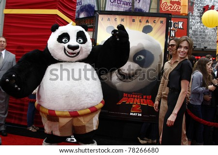 """LOS ANGELES - MAY 22:  Brad Pitt, Angelina Jolie arriving at the """"Kung Fu Panda 2"""" Los Angeles Premiere at Grauman's Chinese Theatre on May 22, 2011 in Los Angeles, CA - stock photo"""