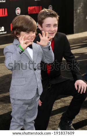 "LOS ANGELES - MAY 8:  Carson Bolde, CJ Adams at the ""Godzilla"" Premiere at Dolby Theater on May 8, 2014 in Los Angeles, CA"