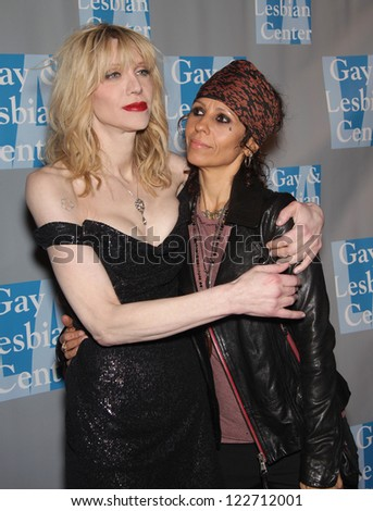 """LOS ANGELES - MAY 19:  COURTNEY LOVE & LINDA PERRY """"An Evening With Women""""  on May 19, 2012 in Beverly Hills, CA - stock photo"""